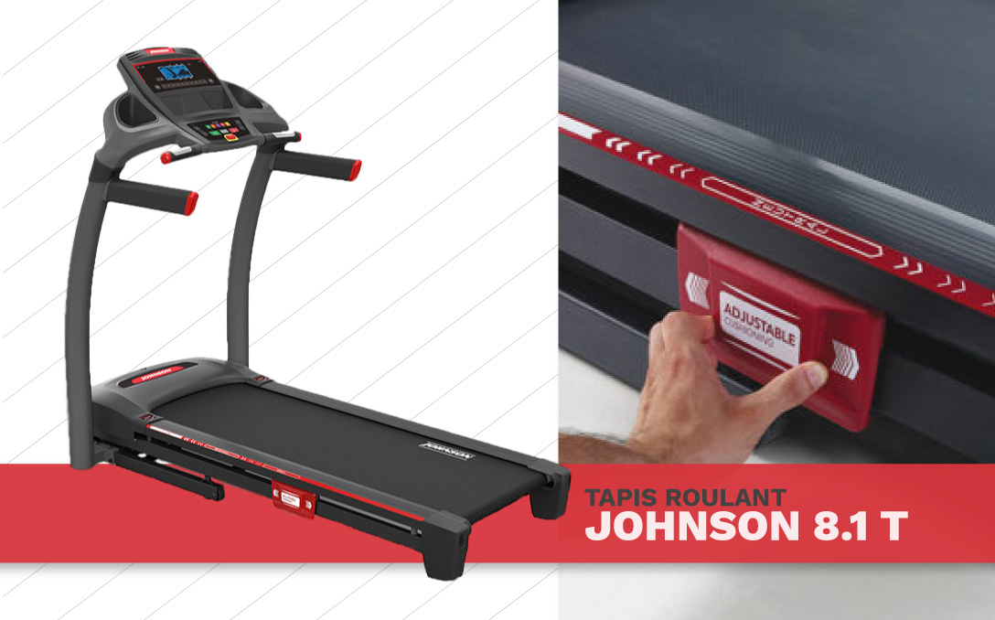 johnson fitness running on the treadmill